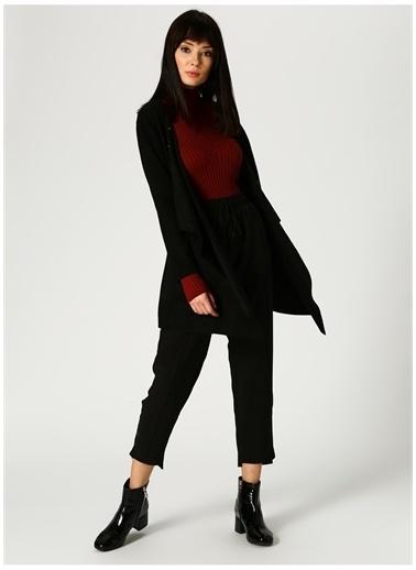Optique Knitwear Optique Kuş Gözü Detaylı Siyah Hırka Siyah